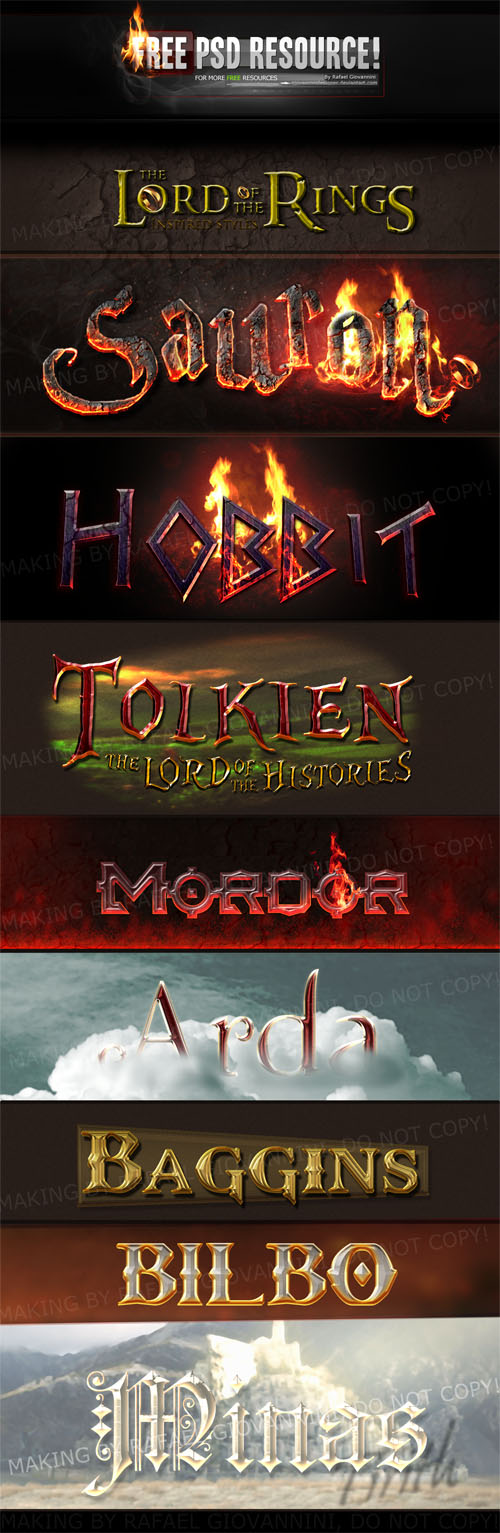 The Lord of the Rings PSD Layer Styles