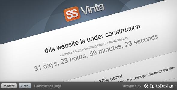 ThemeForest – Vinta SS – Under Construction Page