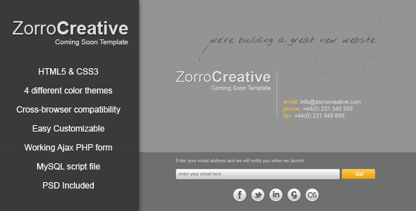 ThemeForest Zorro – Coming Soon Template