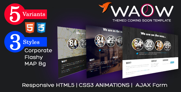 WAOW – Unique Responsive 'Coming Soon' HTML5