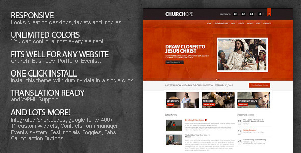 ChurcHope – Responsive WordPress Theme v1.0.4