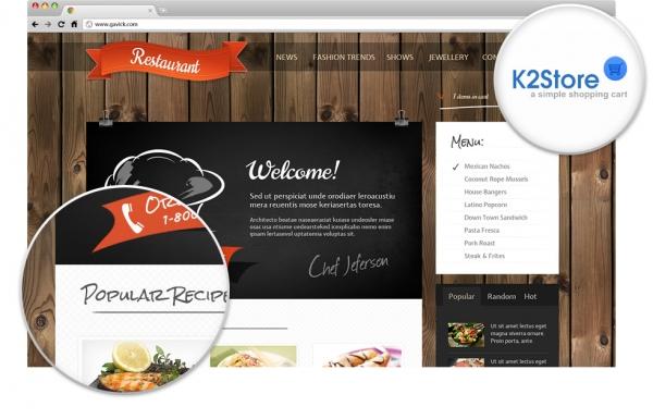 GK Restaurant v3.4 cafes, bars, pizzerias, food Joomla 2.5 template