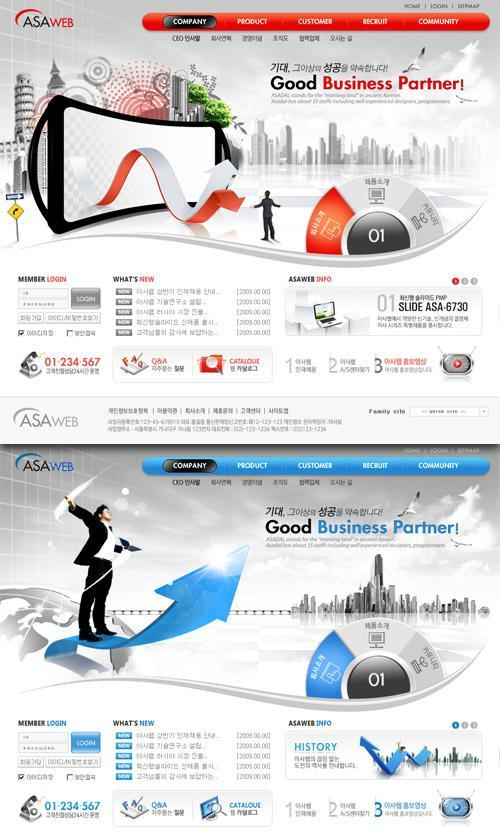 PSD Templates – Good business partner – Red And Blue Color Style