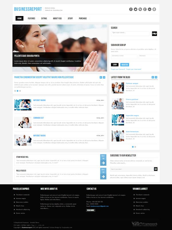 YJ Business Report Template for Joomla 2.5