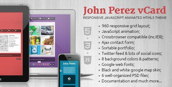 J.P. – Responsive JavaScript Animated HTML5 vCard