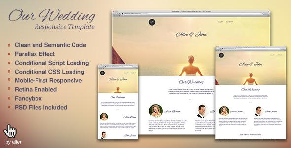 Our Wedding – One Page Responsive Retina HTML5 CSS