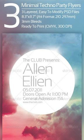 GraphicRiver 3 Minimal Techno Party Flyers