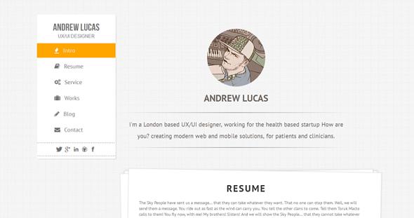Lucas – Onepage Personal Resume/Portfolio Template