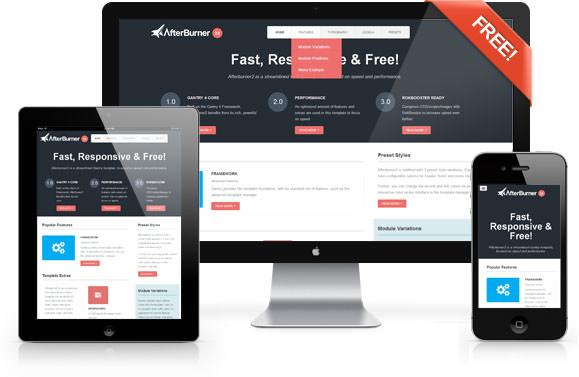 Afterburner2: A Fast Free Feature-Rich Joomla Template