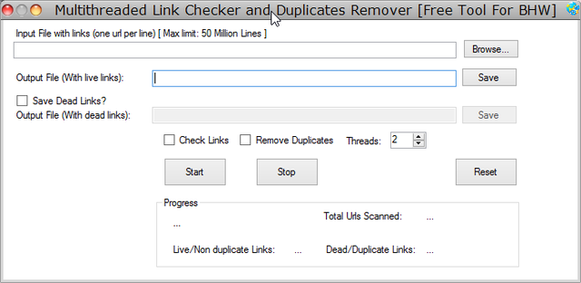 BotRocket's FREE Multithreaded Link Checker and Dup Remover. Check Millions of Urls !!!