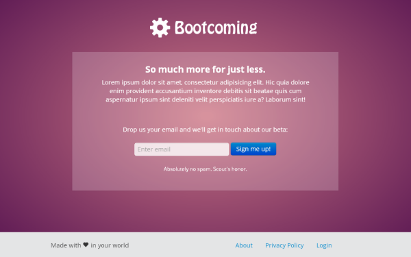 Wrapbootstrap – Bootcoming – Perfect Launch