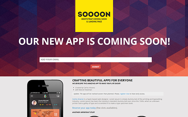 Wrapbootstrap – Soooon – Coming Soon & Landing Page