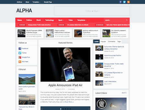 Wpzoom – Alpha v1.0 Theme for WordPress