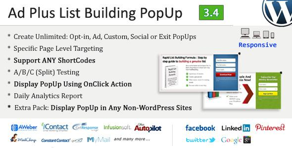 Ad Plus List Building Popup v3.4