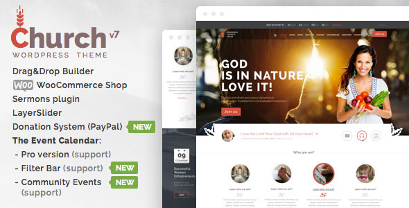 Church and Events — Themeforest Responsive WordPress Theme