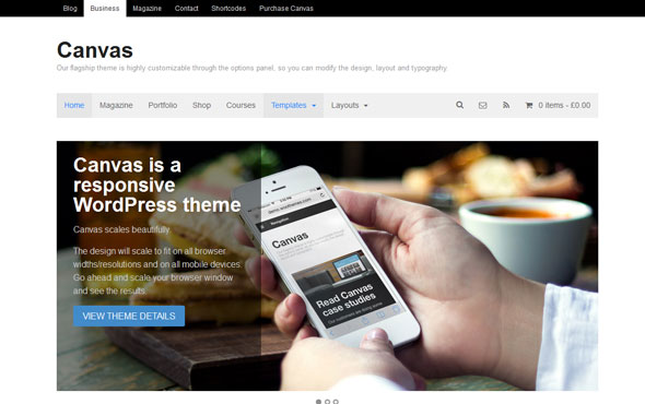 Canvas v5.8.3 — Woothemes WordPress Theme