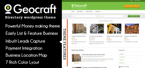 GeoCraft V2 — City Business Directory WordPress Theme