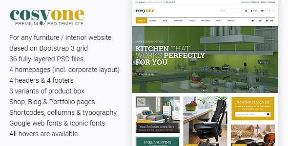 CosyOne — Premium Furniture/Interior PSD Template