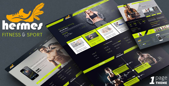 Hermes — Fitness One-page PSD Template
