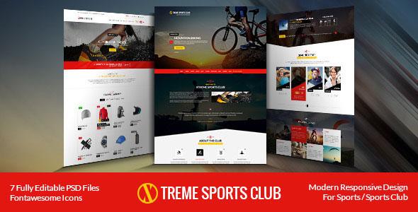 Xtreme Sports club — PSD Template