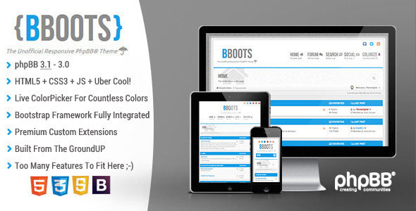 BBOOTS — HTML5/CSS3 Fully Responsive phpBB3.1 Theme