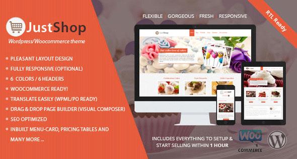 Justshop v6.2 — Cake Bakery Restaurant WordPress Theme