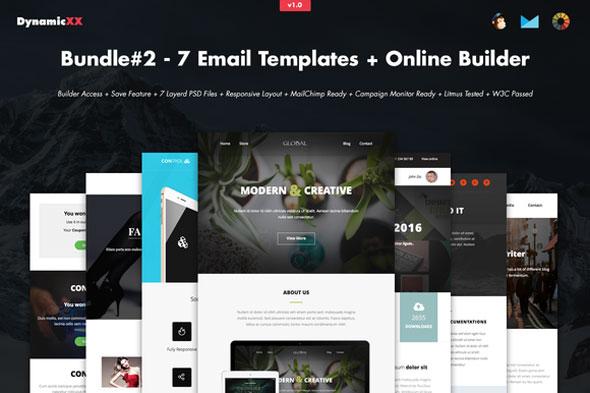 Creativemarket Bundle#2 – 7 Email Templates+Builder