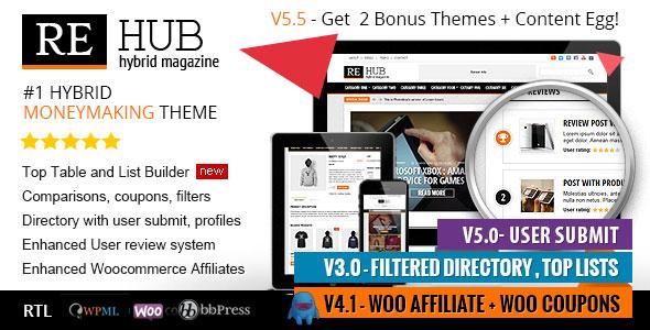 REHub v5.5 — Directory, Shop, Coupon, Affiliate Theme