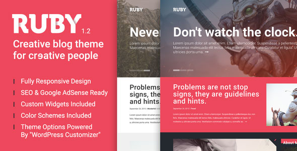 Ruby — A Creative WordPress Blog Theme