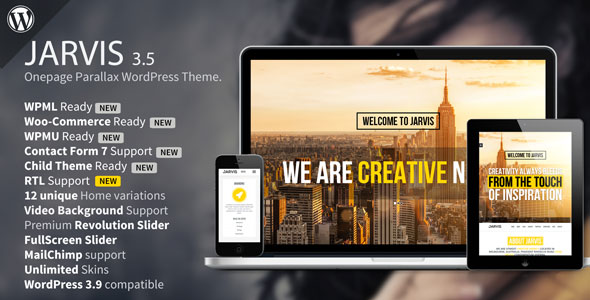 Jarvis v3.6 — Onepage Parallax WordPress Theme