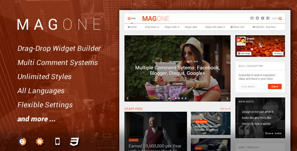 MagOne v5.5.0 — Responsive News & Magazine Blogger Template