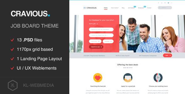 Cravious — Job Portal PSD Template