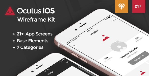 Oculus iOS Wireframe UI Kit