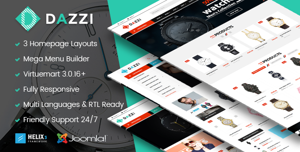 Vina Dazzi — VirtueMart Template for Watches Store