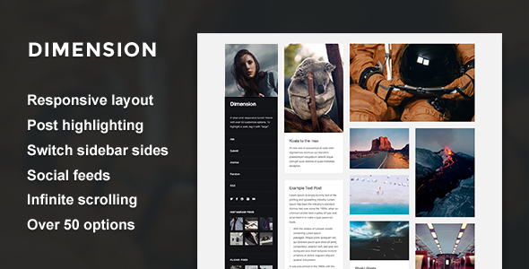 Dimension — A Responsive Sidebar Tumblr Theme