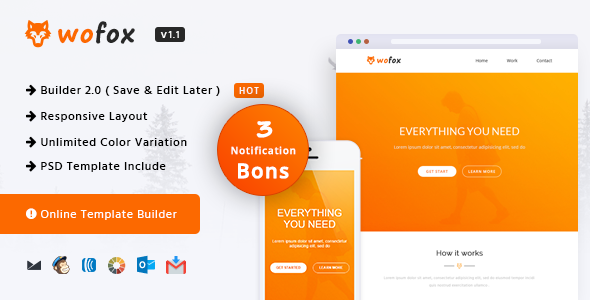 Wofox — Responsive Email Template + Online Builder
