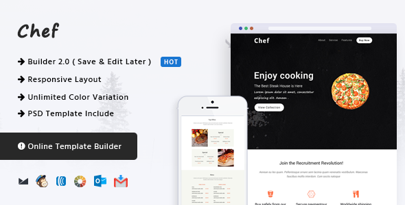 Chef — Responsive Email Template + Online Builder