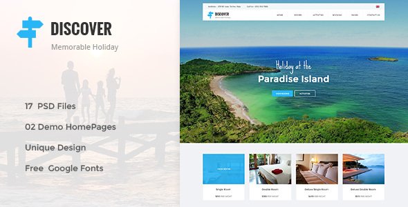 DISCOVER — Beach, Forest, Countryside Hotel & Resort PSD Template