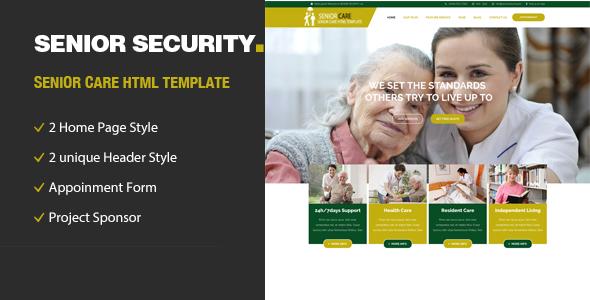 Senior Security — Senior Care HTML Template
