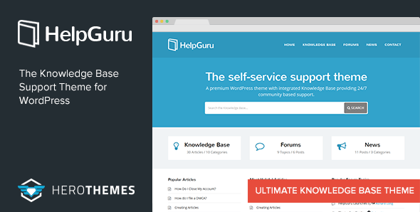 HelpGuru v1.6.2 — A Self-Service Knowledge Base WordPress Theme