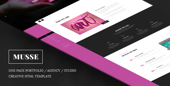 Musse — One Page Portfolio / Agency / Studio Creative Html Template