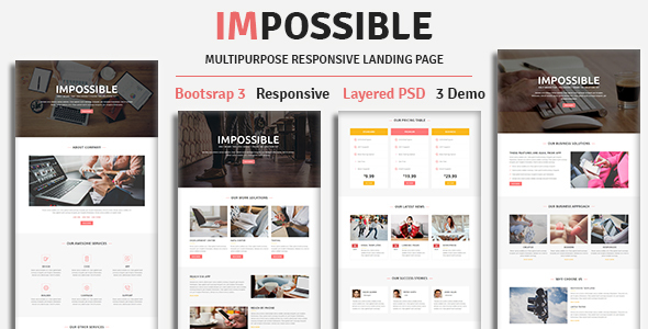 IMPOSSIBLE — Multipurpose Responsive HTML Landing Page