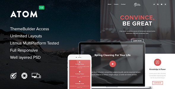 Atom — Responsive Email + Themebuilder Access