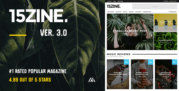 15Zine v3.2.1 — HD Magazine / Newspaper WordPress Theme