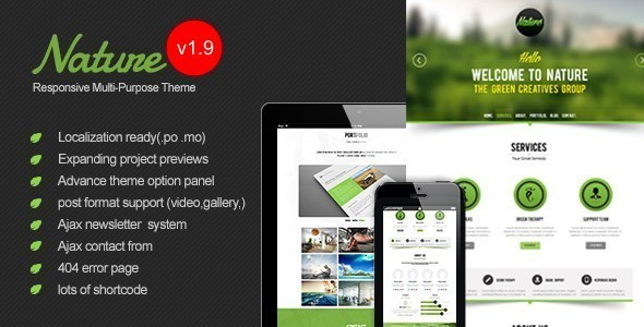 Nature v1.9 — Responsive Onepage WordPress Theme