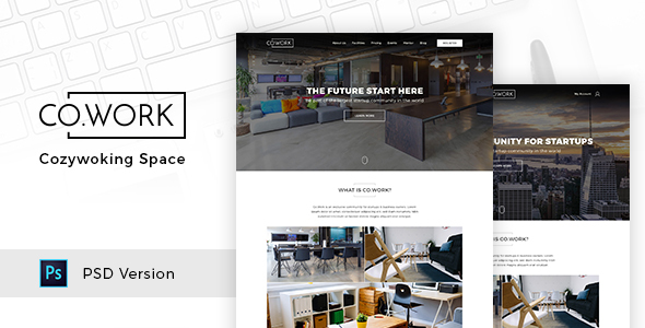CoWork — Open Office & Creative Space PSD Template