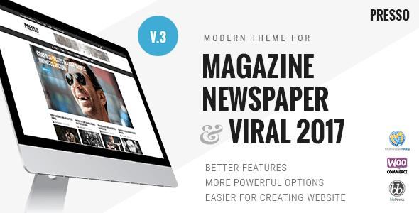 PRESSO v3.2.0 — Modern Magazine / Newspaper / Viral Theme