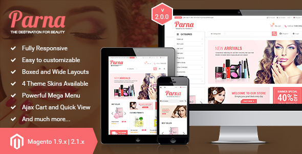 Parna v2.1.0 — Responsive Multi-purpose Magento 1 and 2 Theme