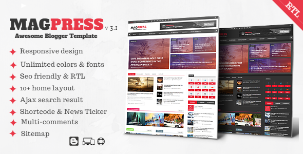 Magpress v3.1 — Magazine Responsive Blogger Template