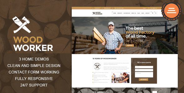 WoodWorker — Carpentry HTML Theme